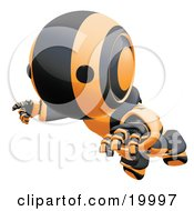 Clipart Illustration Of A Clumsy Black And Orange Ao Maru Humanoid Robot Falling Face First To The Ground Over A White Background
