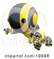 Clipart Illustration Of A Clumsy Black And Yellow Ao Maru Humanoid Robot Falling Face First To The Ground Over A White Background