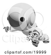 Clipart Illustration Of A Clumsy Metallic Ao Maru Humanoid Robot Falling Face First To The Ground Over A White Background