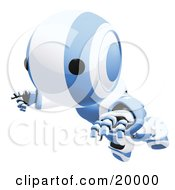 Clumsy Blue And White Ao-Maru Humanoid Robot Falling Face First To The Ground Over A White Background