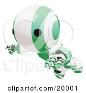 Clipart Illustration Of A Clumsy Green And White Ao Maru Humanoid Robot Falling Face First To The Ground Over A White Background