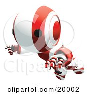 Clipart Illustration Of A Clumsy Red And White Ao Maru Humanoid Robot Falling Face First To The Ground Over A White Background