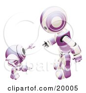 Clipart Illustration Of A Purple And White Humanoid Robot Bending Over Slightly To Speak To A Short Webcam Spybot On A White Background