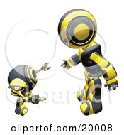 Clipart Illustration Of A Black And Yellow Humanoid Robot Bending Over Slightly To Speak To A Short Webcam Spybot On A White Background