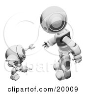 Clipart Illustration Of A Metallic Humanoid Robot Bending Over Slightly To Speak To A Short Webcam Spybot On A White Background