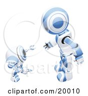 Blue And White Humanoid Robot Bending Over Slightly To Speak To A Short Webcam Spybot On A White Background by Leo Blanchette