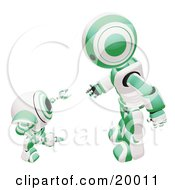 Clipart Illustration Of A Green And White Humanoid Robot Bending Over Slightly To Speak To A Short Webcam Spybot On A White Background