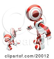 Clipart Illustration Of A Red And White Humanoid Robot Bending Over Slightly To Speak To A Short Webcam Spybot On A White Background