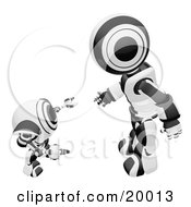 Black And White Humanoid Robot Bending Over Slightly To Speak To A Short Webcam Spybot On A White Background by Leo Blanchette
