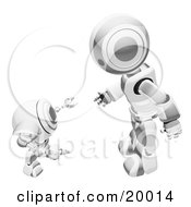 Clipart Illustration Of A Chrome And White Humanoid Robot Bending Over Slightly To Speak To A Short Webcam Spybot On A White Background