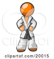 Tough Orange Man In A White Karate Suit And A Black Belt Standing With His Hands On His Hips