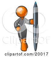 Curvy Orange Woman In A Gray Dress Standing With One Hand On Her Hip Holding A Huge Pen