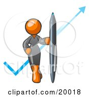 Orange Lady In A Gray Dress Standing With A Giant Pen In Front Of A Blue Check Mark