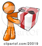 Thoughtful Orange Man Holding A Christmas, Birthday, Valentine's Day Or Anniversary Gift Wrapped In White Paper With Red Ribbon And A Bow