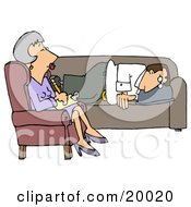 Clipart Illustration Of A Depressed Man Lying On A Sofa In A Shrinks Office Opening Up To A Middle Aged Psychiatrist Woman As She Takes Notes For His Files