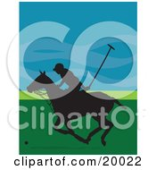 Clipart Illustration Of A Silhouetted Polo Player Guy On A Galloping Horse Against A Blue And Green Background