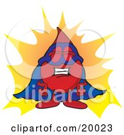 Blood Drop Mascot Cartoon Character Dressed As A Super Hero