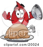 Clipart Picture Of A Blood Drop Mascot Cartoon Character Serving A Thanksgiving Turkey On A Platter by Toons4Biz