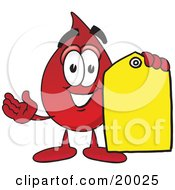 Blood Drop Mascot Cartoon Character Holding A Yellow Sales Price Tag