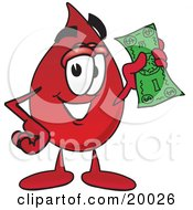 Clipart Picture Of A Blood Drop Mascot Cartoon Character Holding A Dollar Bill