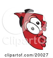 Clipart Picture Of A Blood Drop Mascot Cartoon Character Peeking Around A Corner