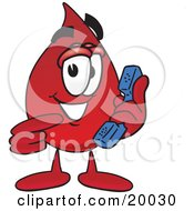 Clipart Picture Of A Blood Drop Mascot Cartoon Character Holding A Telephone