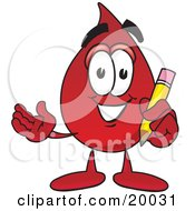 Clipart Picture Of A Blood Drop Mascot Cartoon Character Holding A Pencil