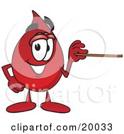Clipart Picture Of A Blood Drop Mascot Cartoon Character Holding A Pointer Stick
