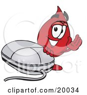 Blood Drop Mascot Cartoon Character With A Computer Mouse