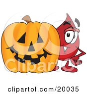 Clipart Picture Of A Blood Drop Mascot Cartoon Character With A Carved Halloween Pumpkin by Toons4Biz