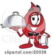 Clipart Picture Of A Blood Drop Mascot Cartoon Character Dressed As A Waiter And Holding A Serving Platter