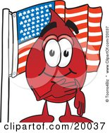 Clipart Picture Of A Blood Drop Mascot Cartoon Character Pledging Allegiance To An American Flag