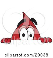 Clipart Picture Of A Blood Drop Mascot Cartoon Character Peeking Over A Surface