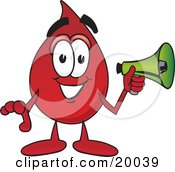 Clipart Picture Of A Blood Drop Mascot Cartoon Character Holding A Megaphone by Toons4Biz