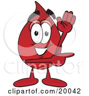 Clipart Picture Of A Blood Drop Mascot Cartoon Character Waving And Pointing by Toons4Biz