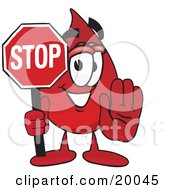 Blood Drop Mascot Cartoon Character Holding A Stop Sign