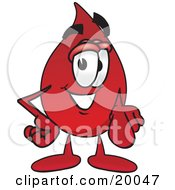 Blood Drop Mascot Cartoon Character Pointing At The Viewer