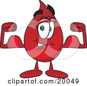 Clipart Picture Of A Blood Drop Mascot Cartoon Character Flexing His Arm Muscles