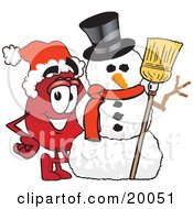 Clipart Picture Of A Blood Drop Mascot Cartoon Character With A Snowman On Christmas by Toons4Biz