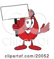 Blood Drop Mascot Cartoon Character Holding A Blank Sign