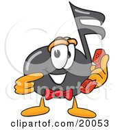 Music Note Mascot Cartoon Character Holding A Telephone