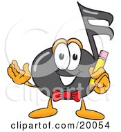 Clipart Picture Of A Music Note Mascot Cartoon Character Holding A Pencil by Toons4Biz