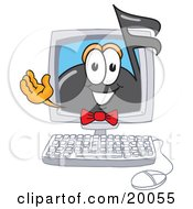 Clipart Picture Of A Music Note Mascot Cartoon Character Waving From Inside A Computer Screen by Toons4Biz