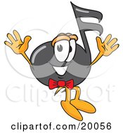 Clipart Picture Of A Music Note Mascot Cartoon Character Jumping by Toons4Biz