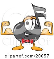 Clipart Picture Of A Music Note Mascot Cartoon Character Flexing His Arm Muscles