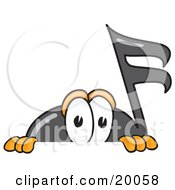 Clipart Picture Of A Music Note Mascot Cartoon Character Peeking Over A Surface by Toons4Biz