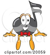 Clipart Picture Of A Music Note Mascot Cartoon Character Sitting