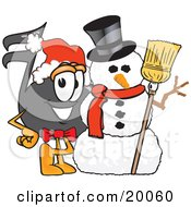 Clipart Picture Of A Music Note Mascot Cartoon Character With A Snowman On Christmas by Toons4Biz