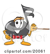 Music Note Mascot Cartoon Character Holding A Pointer Stick