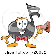 Clipart Picture Of A Music Note Mascot Cartoon Character Holding A Megaphone by Toons4Biz